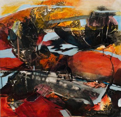 """Danielle BOUCHARD, La carcasse de l'abîme, Acrylique et encre sur toile, 24"""" x 24"""" ©"""