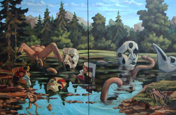 KUPRIAKOV, Nikolai. Part 143 A-B – Dérivés du Carnaval de Venise, 2006-2016, Huile sur toile, 101 x 152 cm. Diptyque. ©